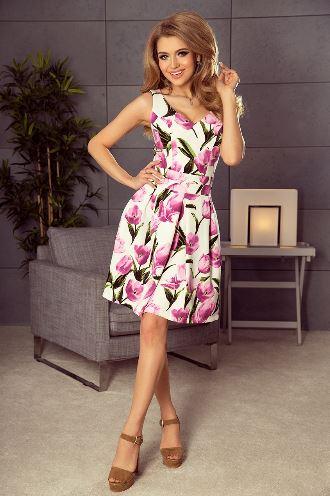 sukienka w kwiaty ptak moda