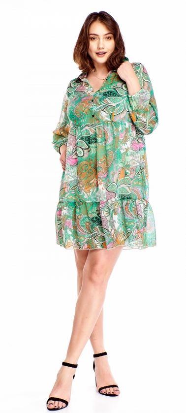 sukienka z falbaną ptak moda