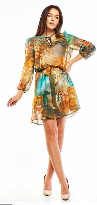 wzorzysta sukienka ptak moda